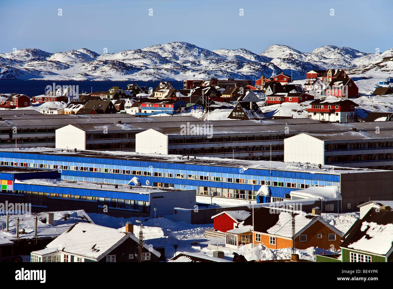 View of apartment buildings in Nuuk, Greenland Stock Photo