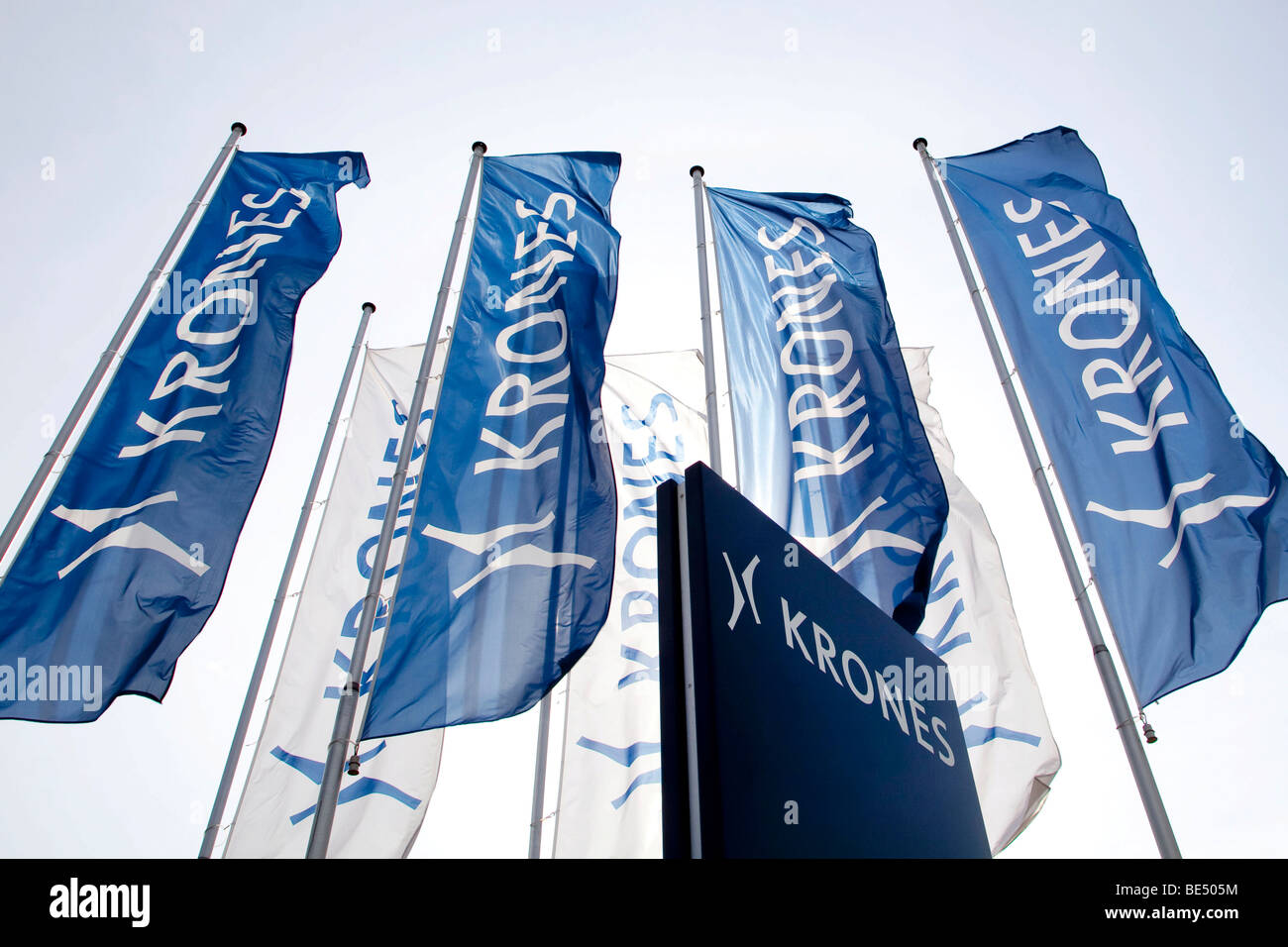 Flags with the logo of the Krones AG company in Neutraubling, Bavaria, Germany, Europe Stock Photo