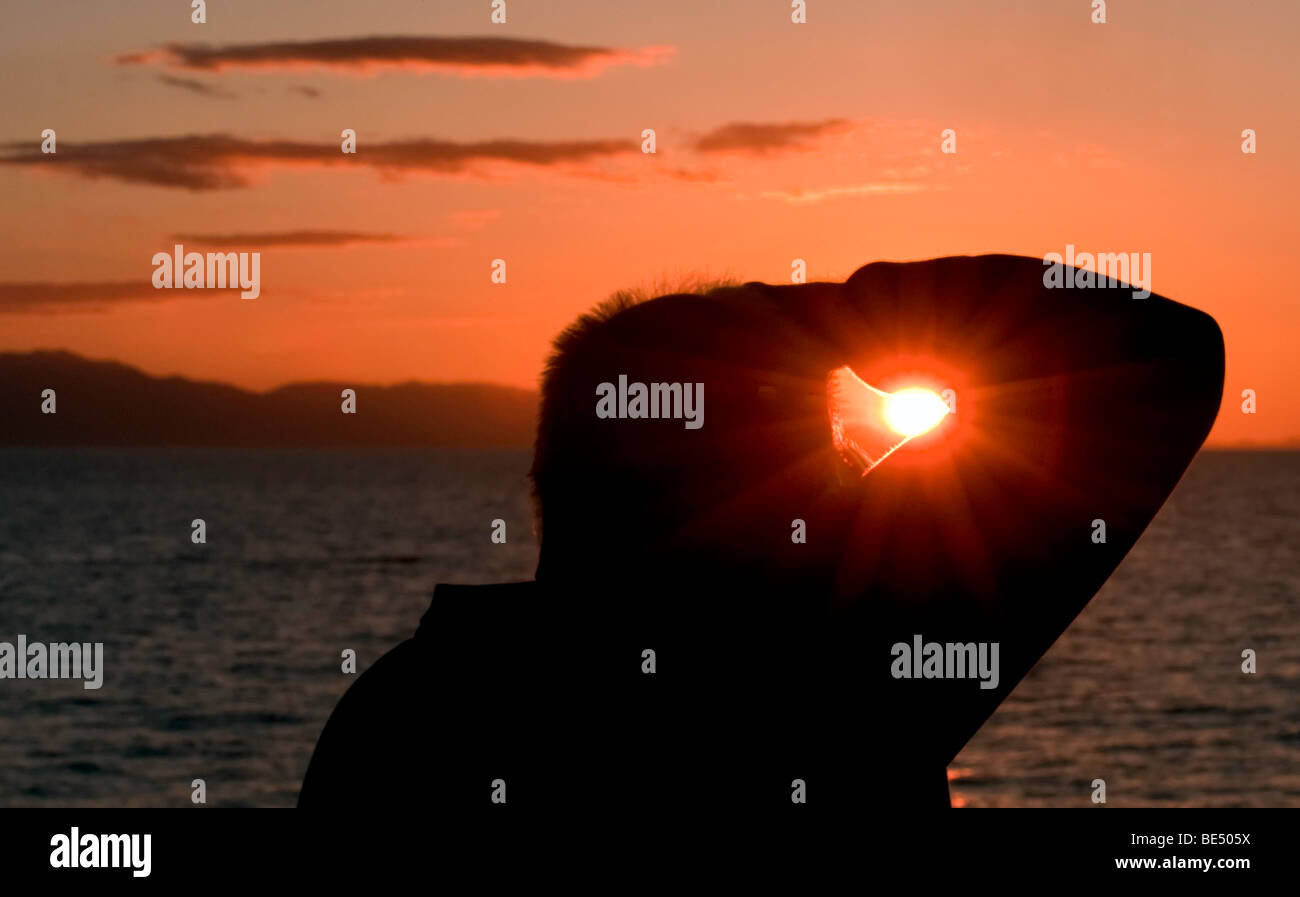 'Watching for the green flash over the Sea of Cortez.' - Stock Image