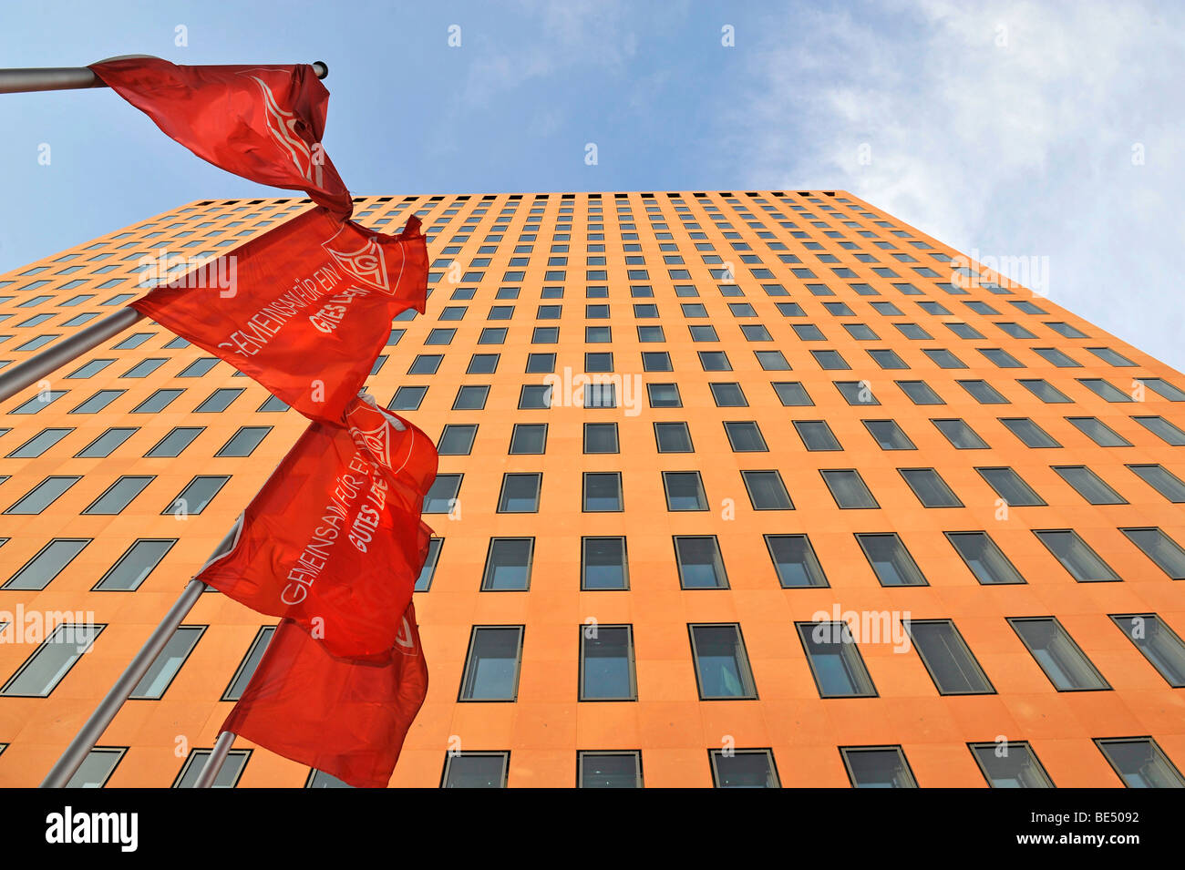 Building of the IG Metall trade union, flags, Frankfurt am Main, Hesse, Germany, Europe - Stock Image