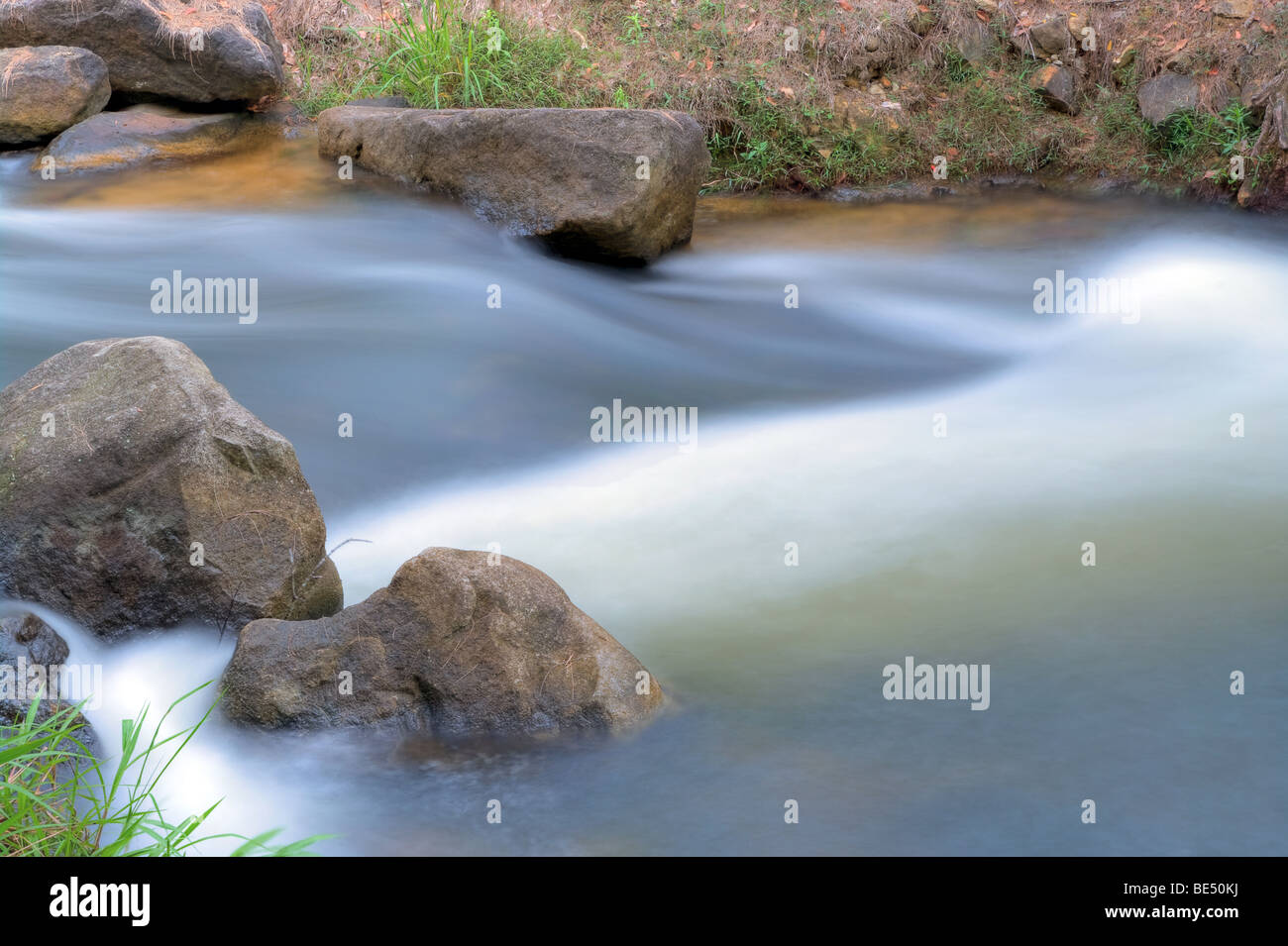 great image of water coming down the stream or river - Stock Image