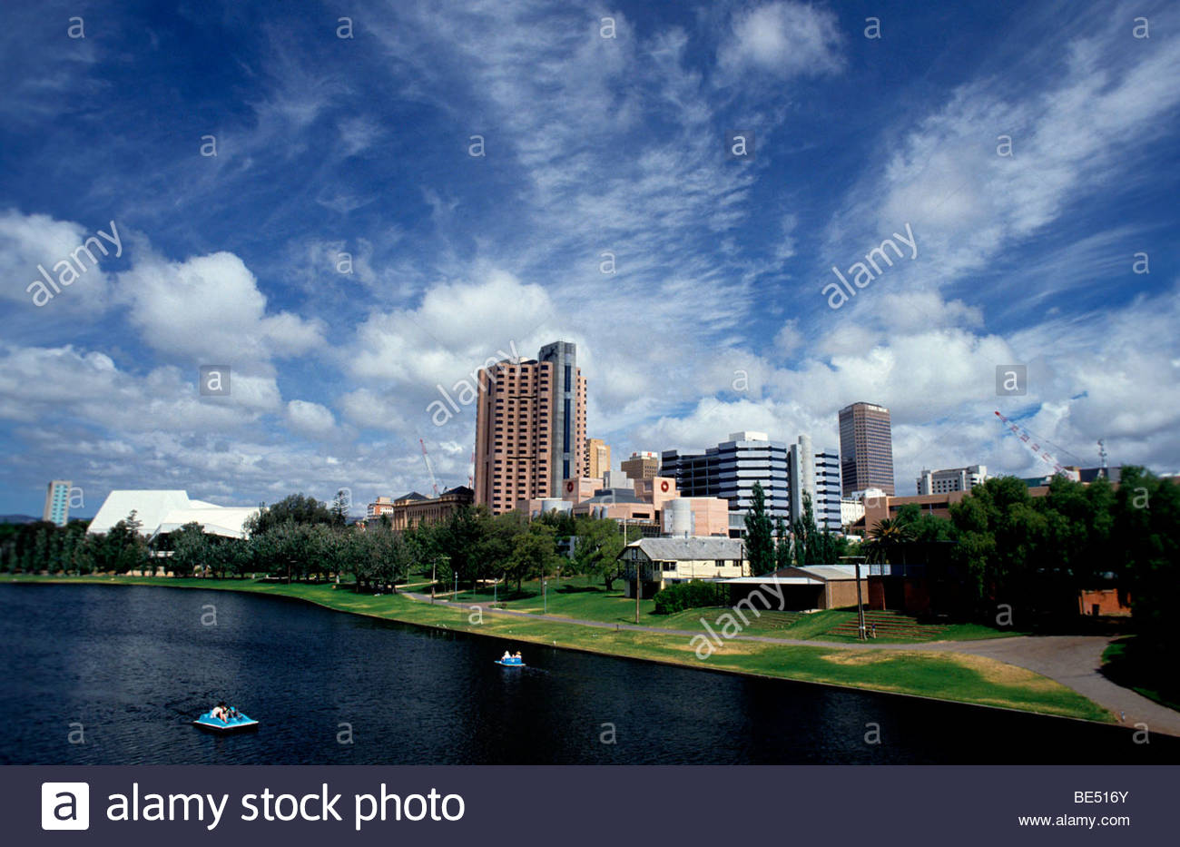 Australia, Adelaide - Buildings in a city, River Torrens Stock Photo