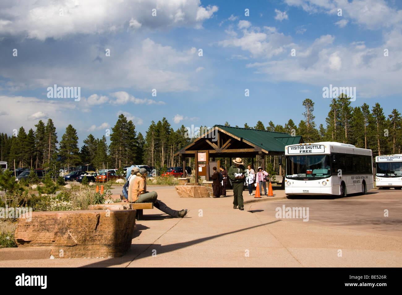 Shuttle bus Rocky Mountain National Park, Colorado, USA - Stock Image