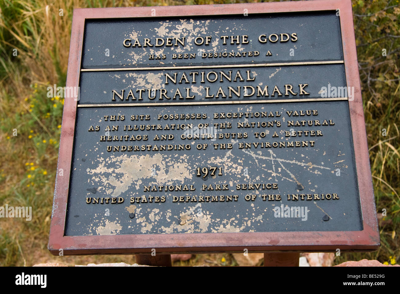 Garden of the Gods, National Natural Landmark sign, Colorado, USA - Stock Image