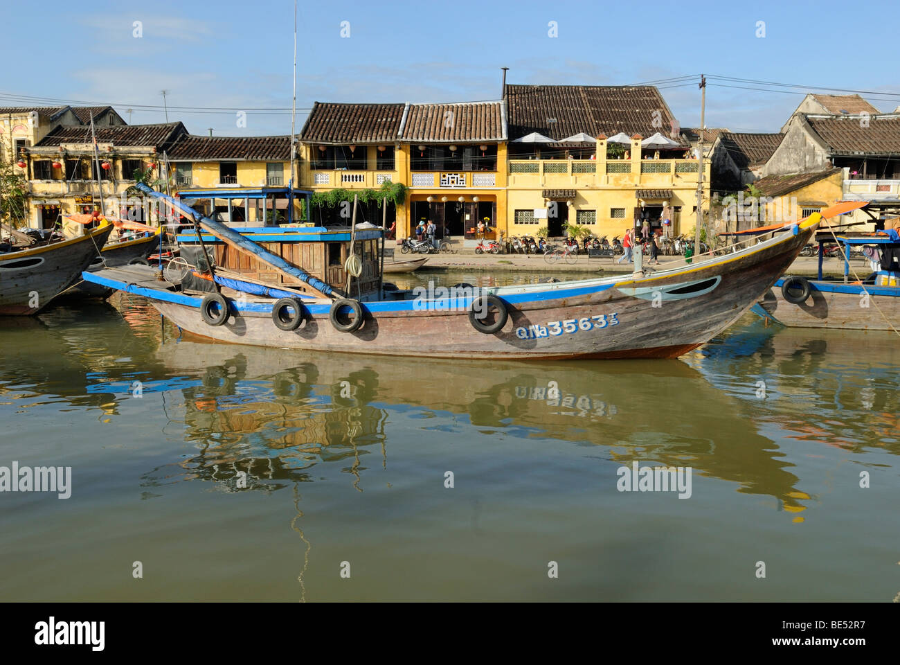 Fishing boat in the harbor of Hoi An, UNESCO World Heritage Site, Vietnam, Asia Stock Photo