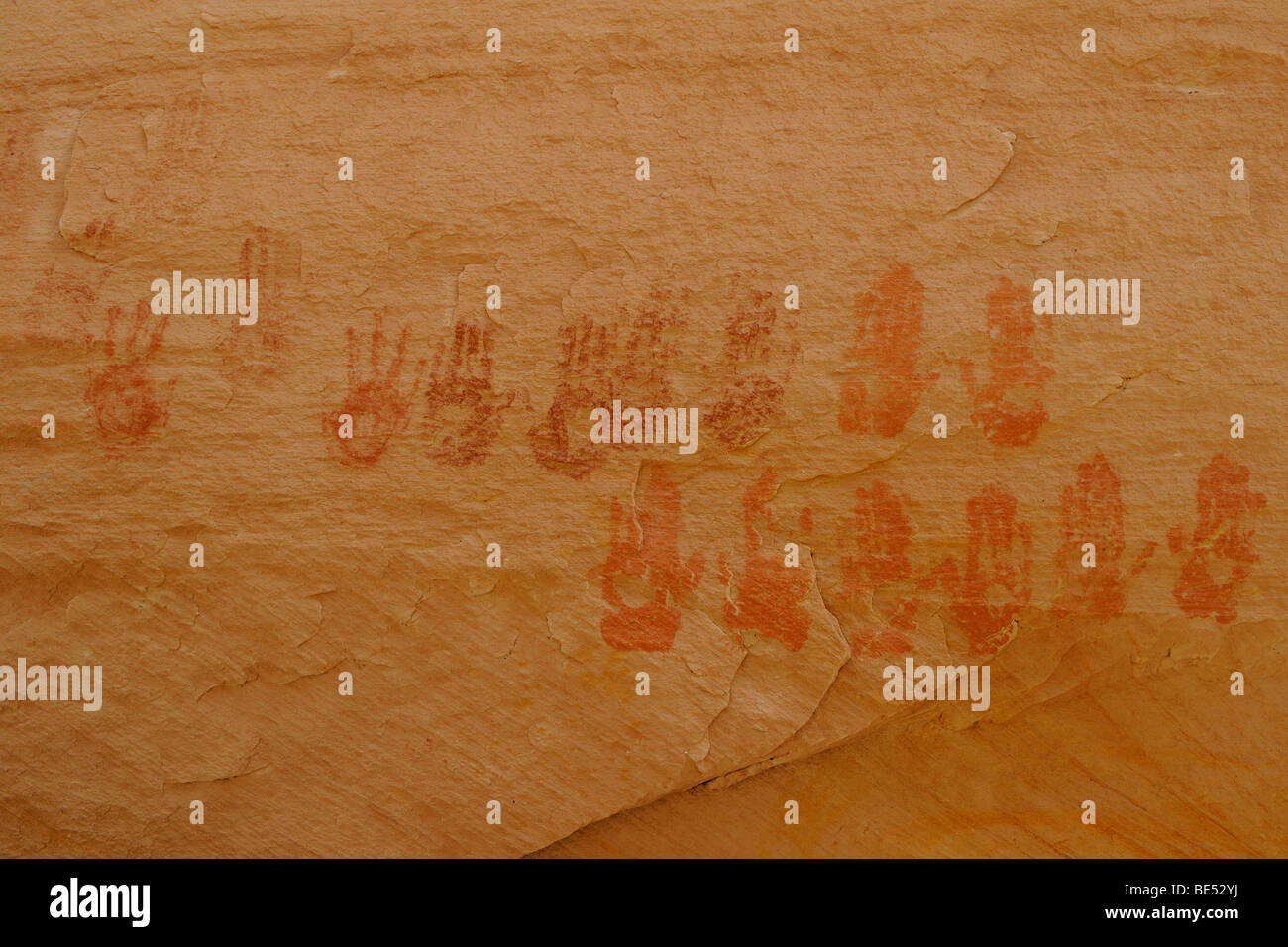 Pictographs, hand prints of 9 Anasazi Indians, about 900 years old, Cold Springs Cave near Bluff, Utah, USA - Stock Image