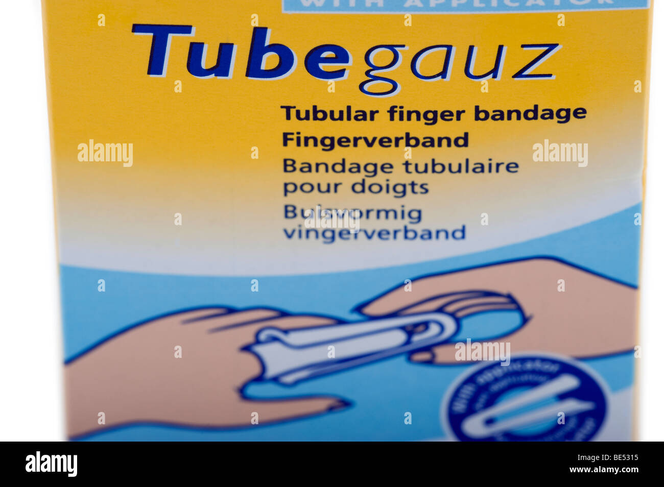 Scholl Tubegauz tubular finger bandage packet - Stock Image