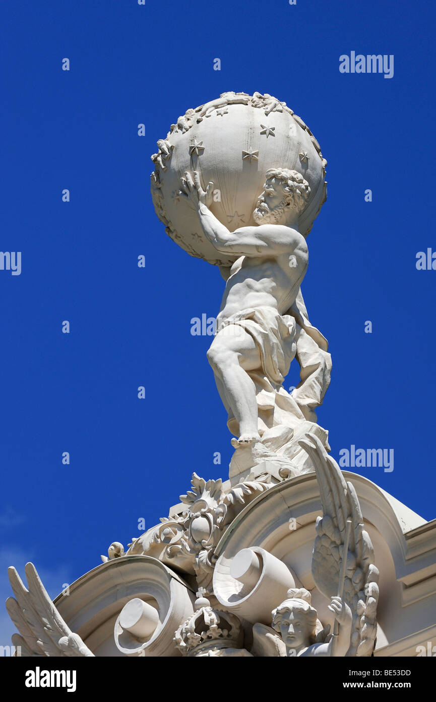 Atlas figure on the roof of Schloss Linderhof Palace in Graswangtal near Oberammergau, district of Garmisch-Partenkirchen, - Stock Image