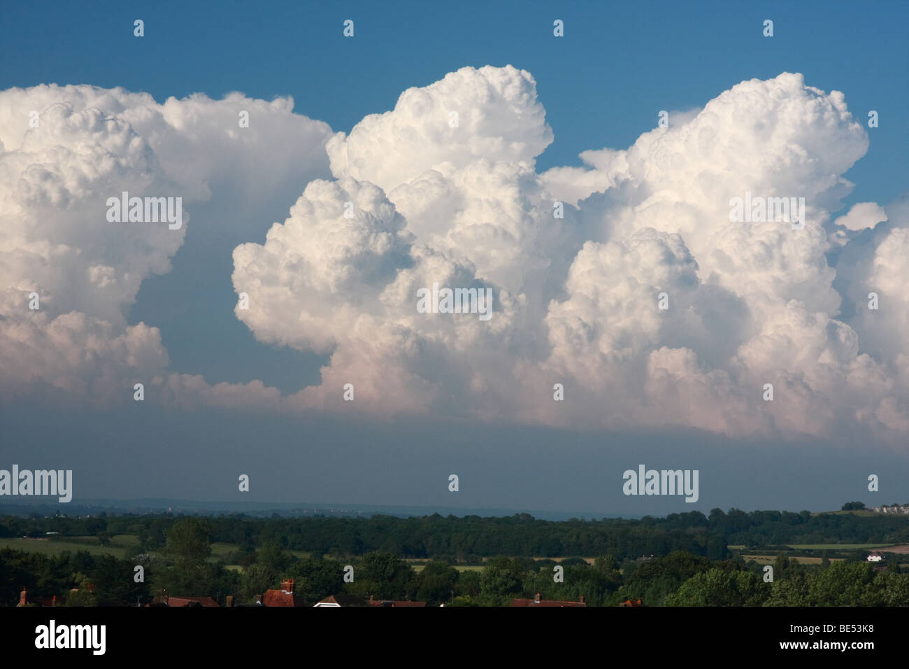 Stormclouds above Southdowns, Fulking, UK - Stock Image