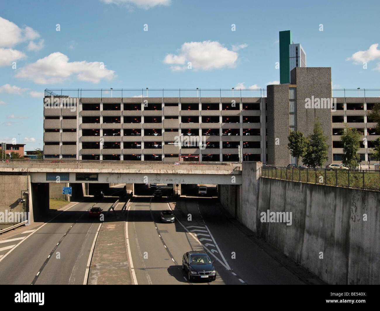 Multistorey car park above underpass Leeds West Yorkshire UK - Stock Image
