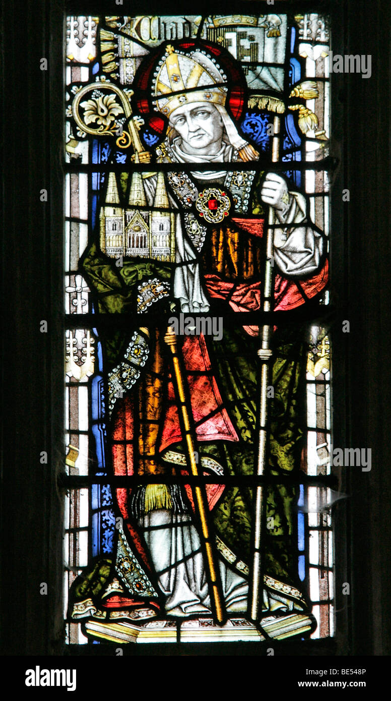 A Stained Glass Window Depicting Saint Chad, Welbourn Church, Lincolnshire Stock Photo