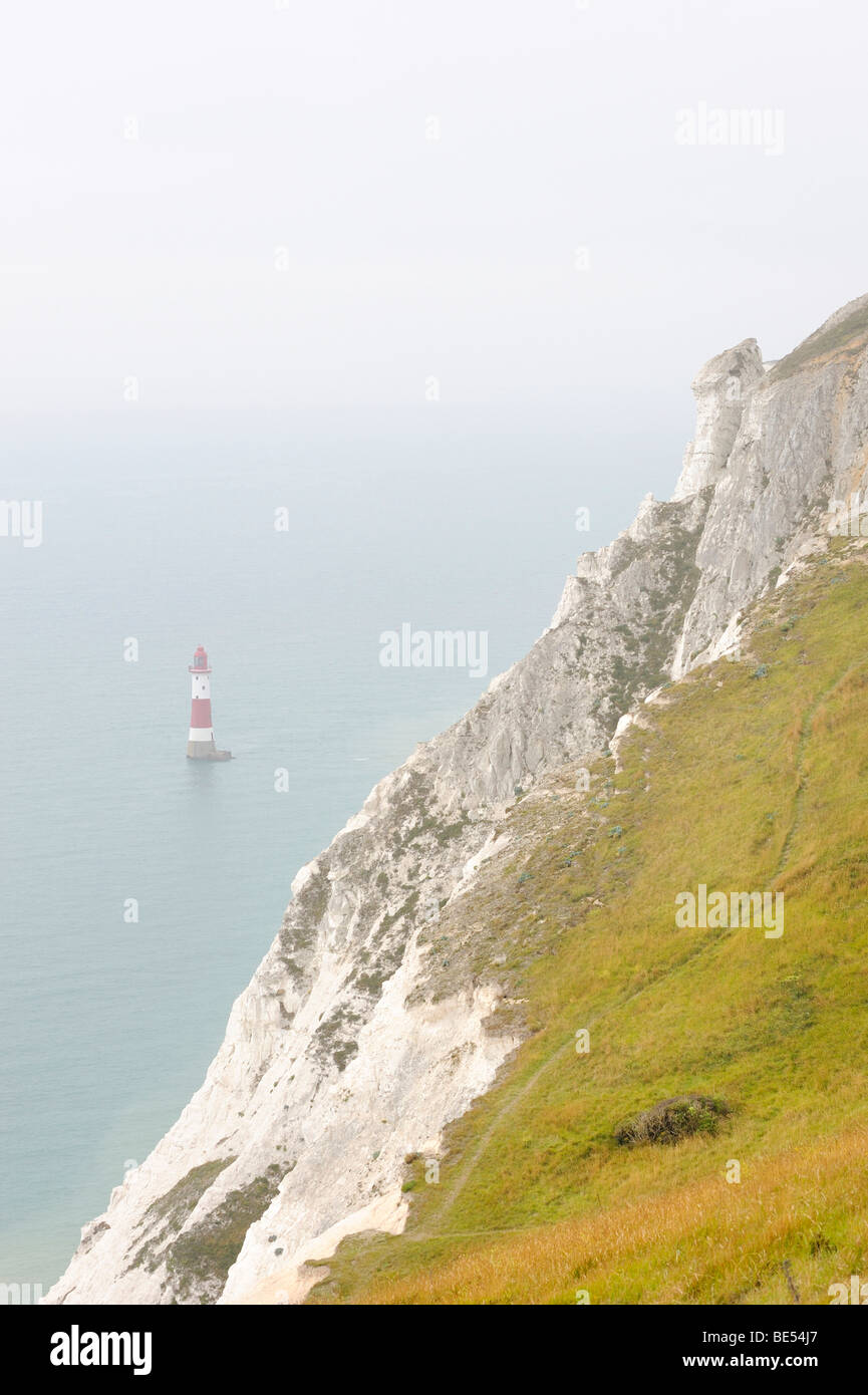 The lighthouse at Beachy Head on the English south coast at Eastbourne, East Sussex, England, UK, Europe - Stock Image