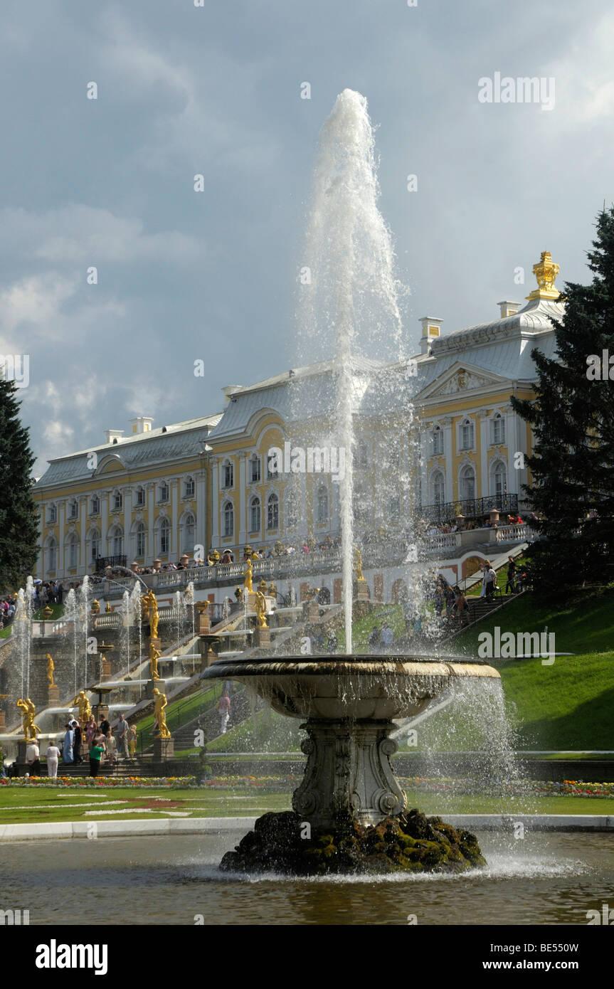 Grand Cascade with Palace, Peterhof, Petrodvorez, Saint Petersburg, Russia, Europe Stock Photo