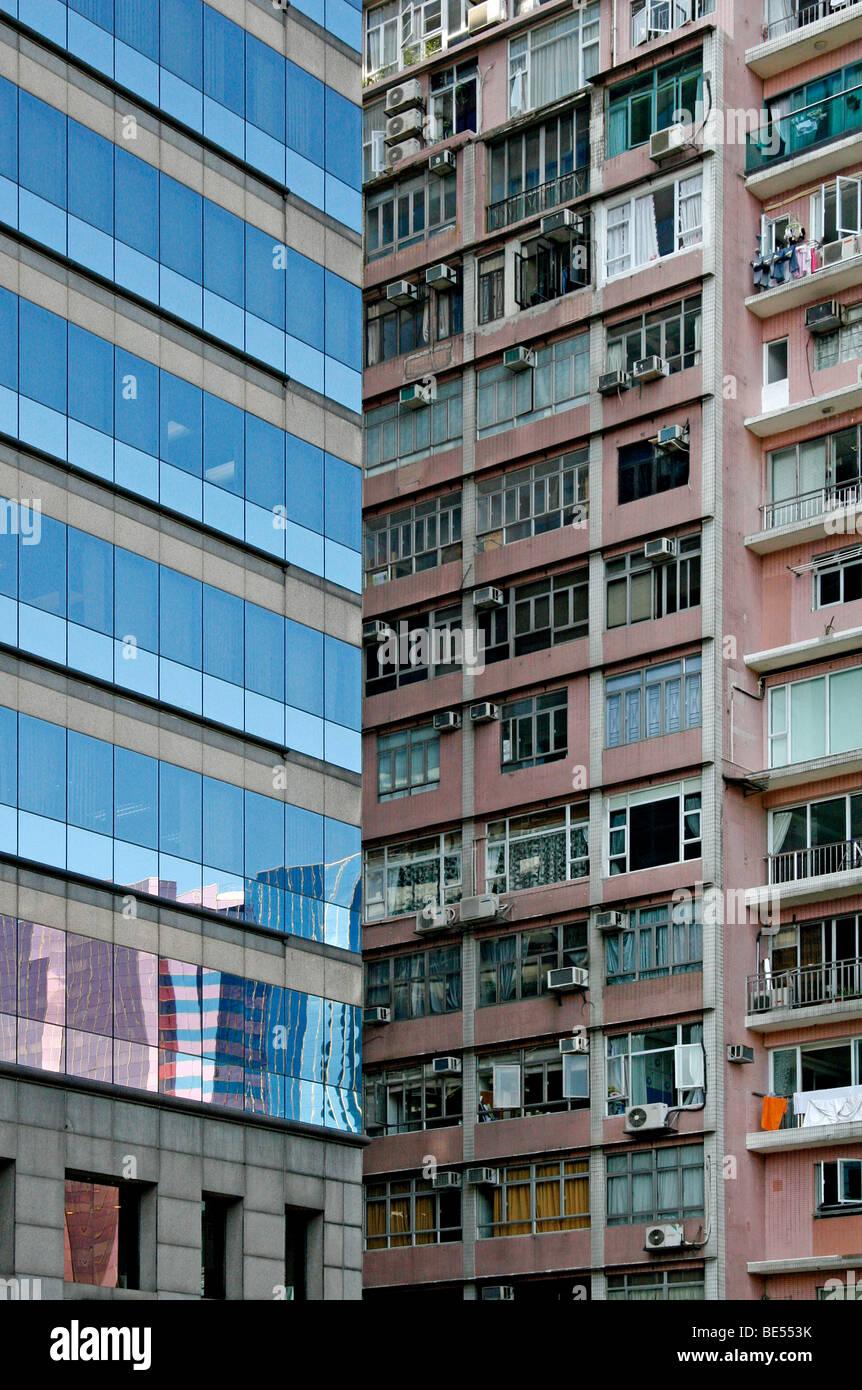 High-rise buildings, old and new, contrasts, Hong Kong, Hong Kong, China, Asia - Stock Image