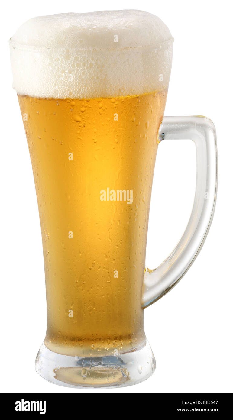 Light beer in glass on a white background - Stock Image