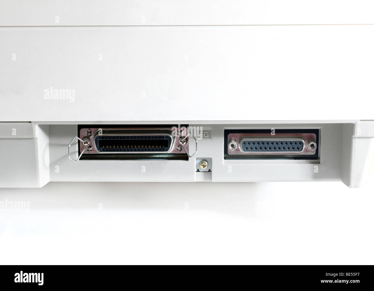 Parallel Ports on a Printer - Stock Image