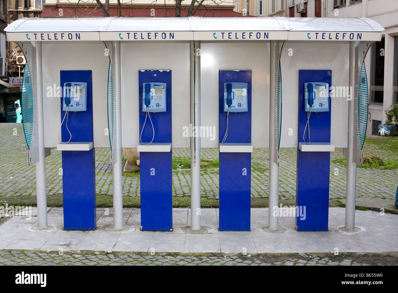 Row of telephone kiosks in Istanbul, Turkey, March 2009 - Stock Image