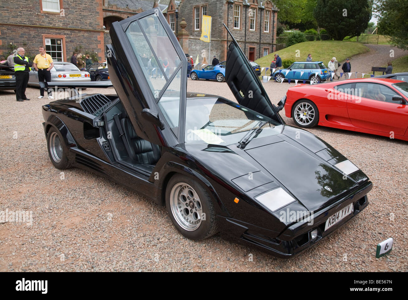 Black Lamborghini Countach mid-engined sports car - Stock Image