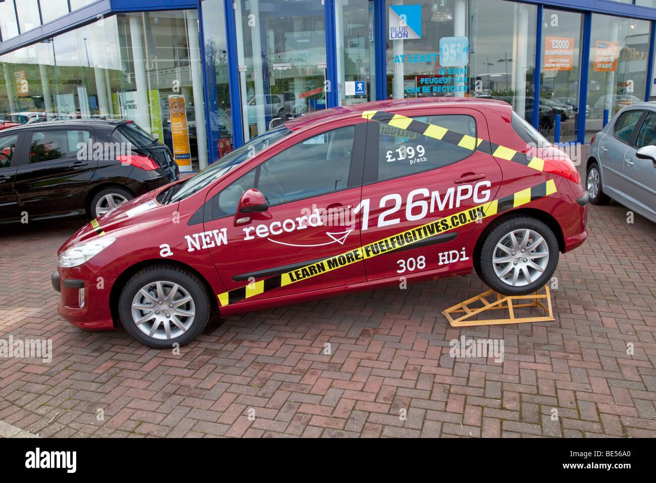 Peugeot 308 HDI new record 126 miles per gallon Bristol UK - Stock Image