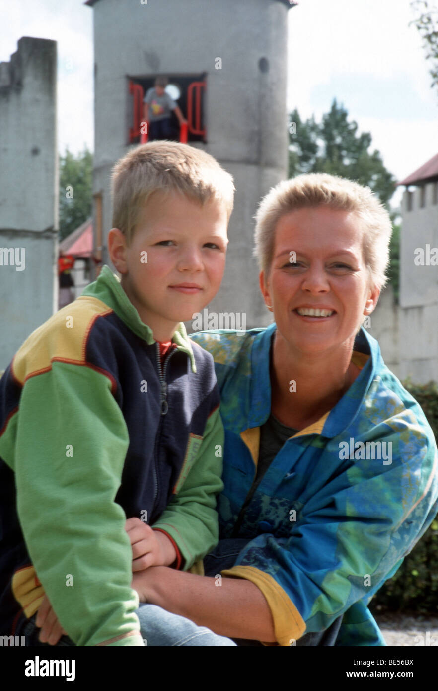 Happy portrait mother and son - Stock Image