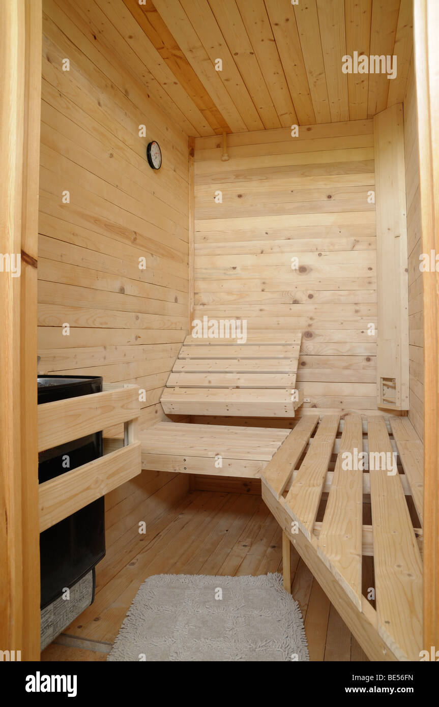 Interior of an wooden sauna - Stock Image