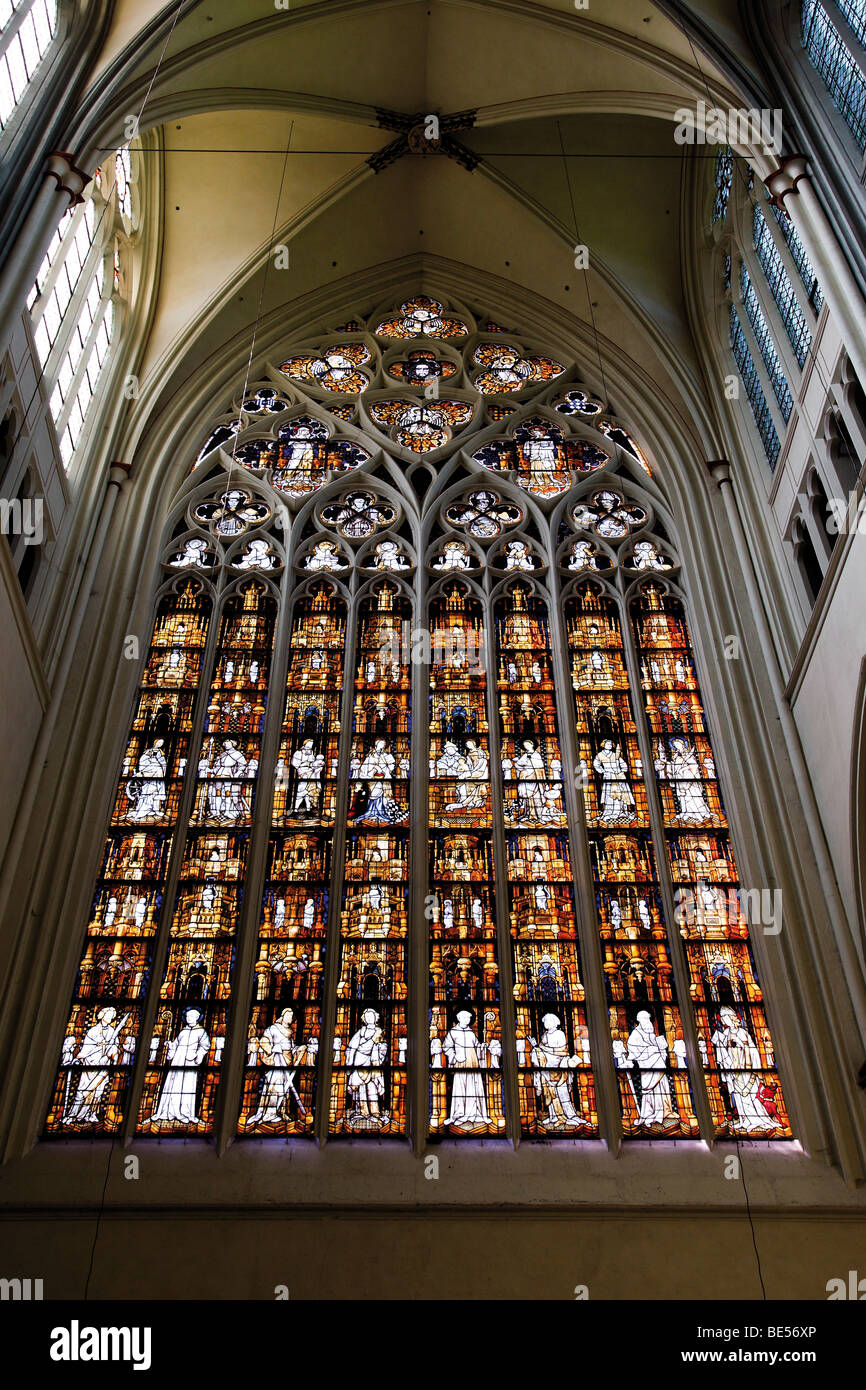 Altenberger Cathedral, inner view, church window, Bergisches Land, North Rhine-Westphalia, Germany, Europe Stock Photo