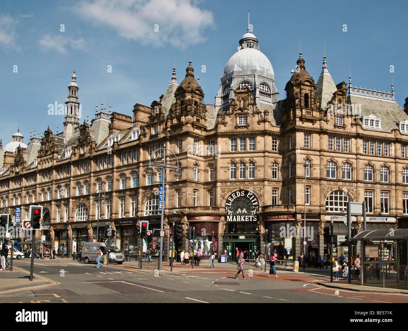 Facade of Leeds City Markets West Yorkshire UK - Stock Image