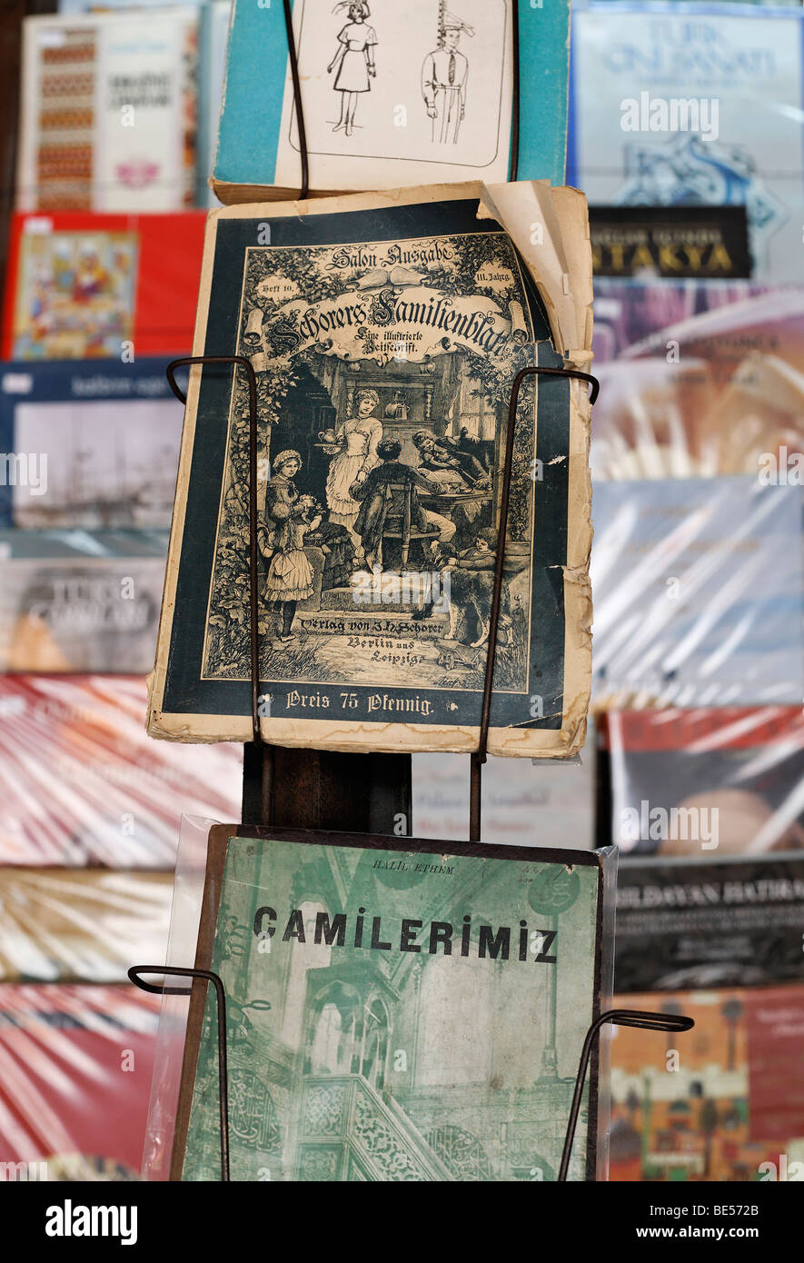 Antiquarian German magazine from the 19th Century, Schorer family sheet, displayed in book Bazaar, Beyazit Square, Stock Photo