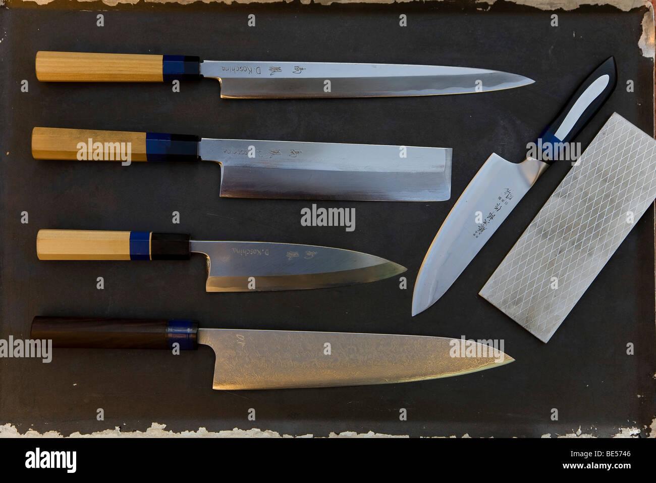 Japanese kitchen knifes belonging to the star chef Dieter Koschina, two Michelin stars, the Hotel Vila Joya, Praia - Stock Image