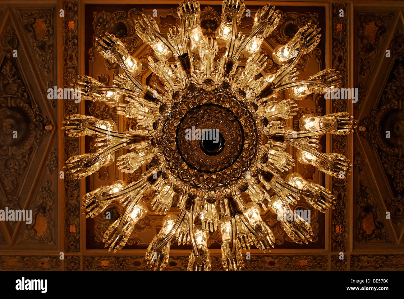 Entrance hall chandelier stock photos entrance hall chandelier ostentatious chandelier with 60 arms entrance hall dolmabahce palace sultans palace from the aloadofball Images