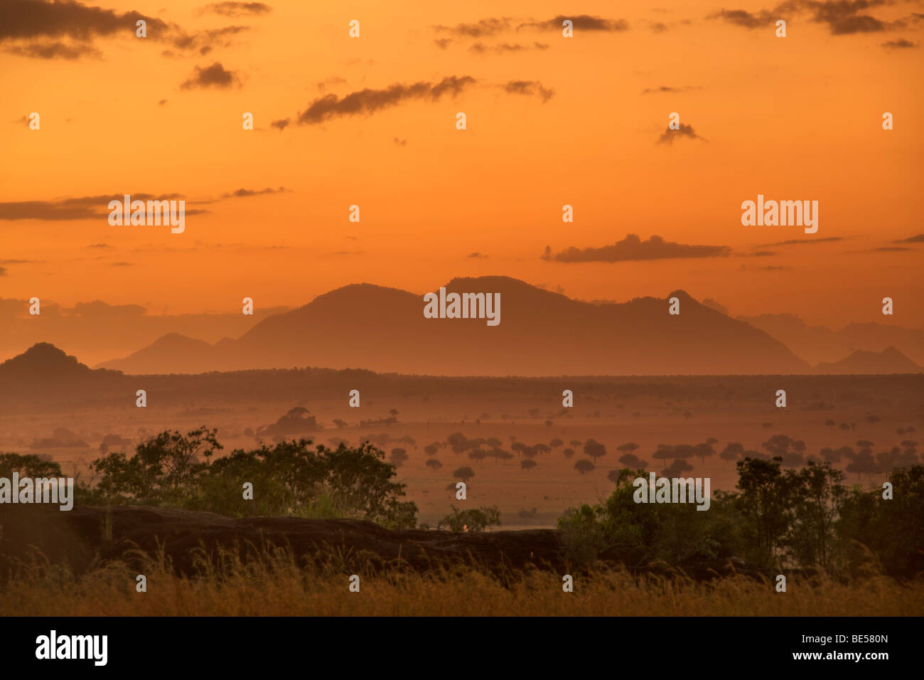 Mount Morungole seen from the Kidepo Valley National Park in northern Uganda at dawn. Stock Photo