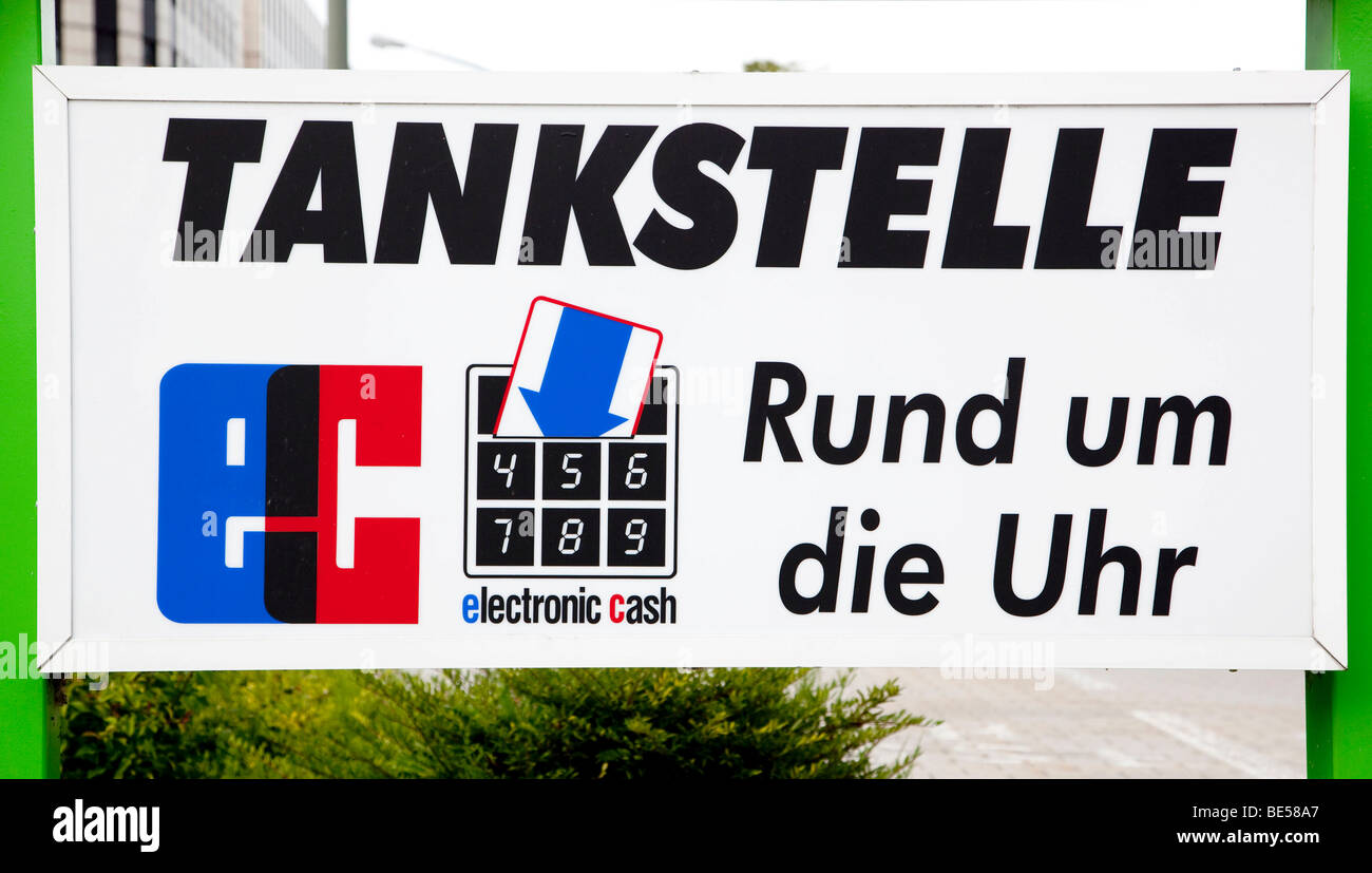Gas station with debit card payment around the clock, 24 hours, in Neutraubling, Bavaria, Germany, Europe - Stock Image