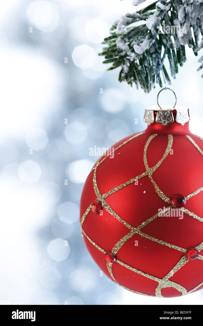 Red Christmas ball with decoration on fir branch - Stock Image