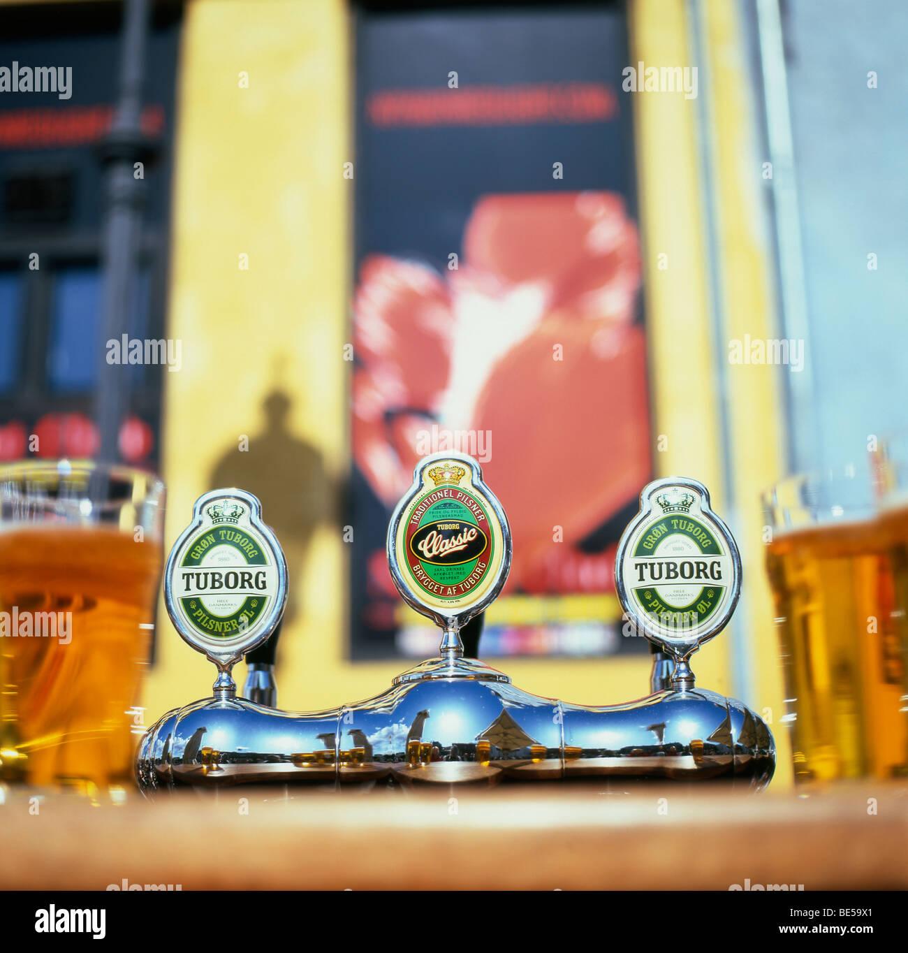 Tuborg draft beer for sale on the street Nyhavn Copenhagen Denmark - Stock Image