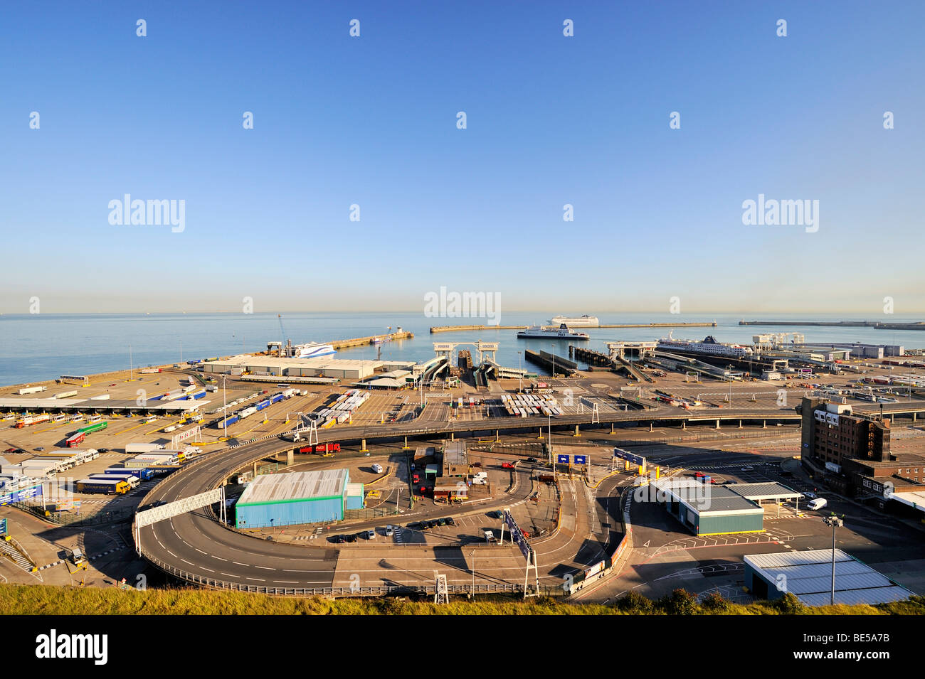View of the ferry port of Dover, Kent, England, UK, Europe Stock Photo