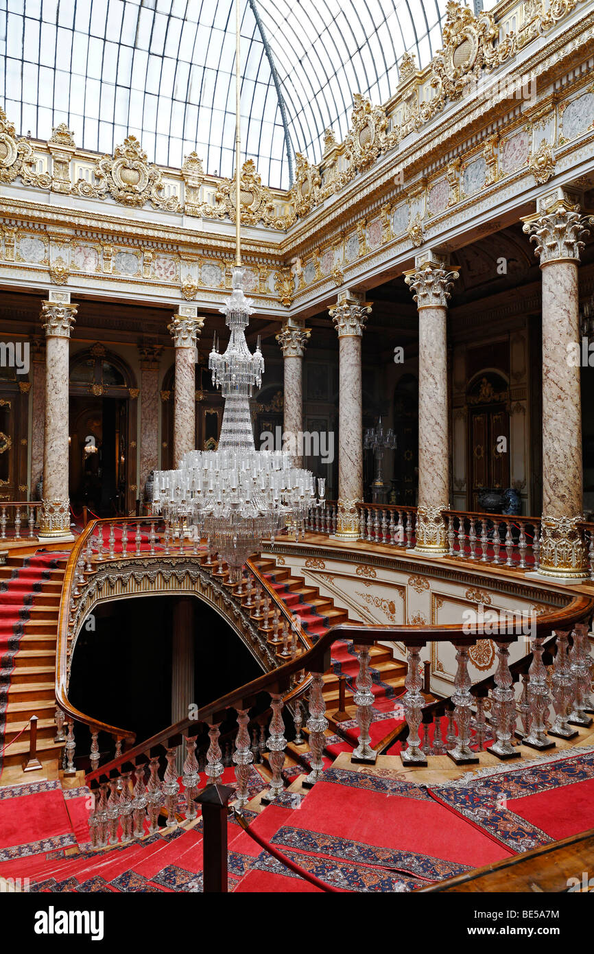 Staircase with dome, crystal staircase, glass staircase, Dolmabahce Palace, Sultan's palace from the 19th Jh, - Stock Image