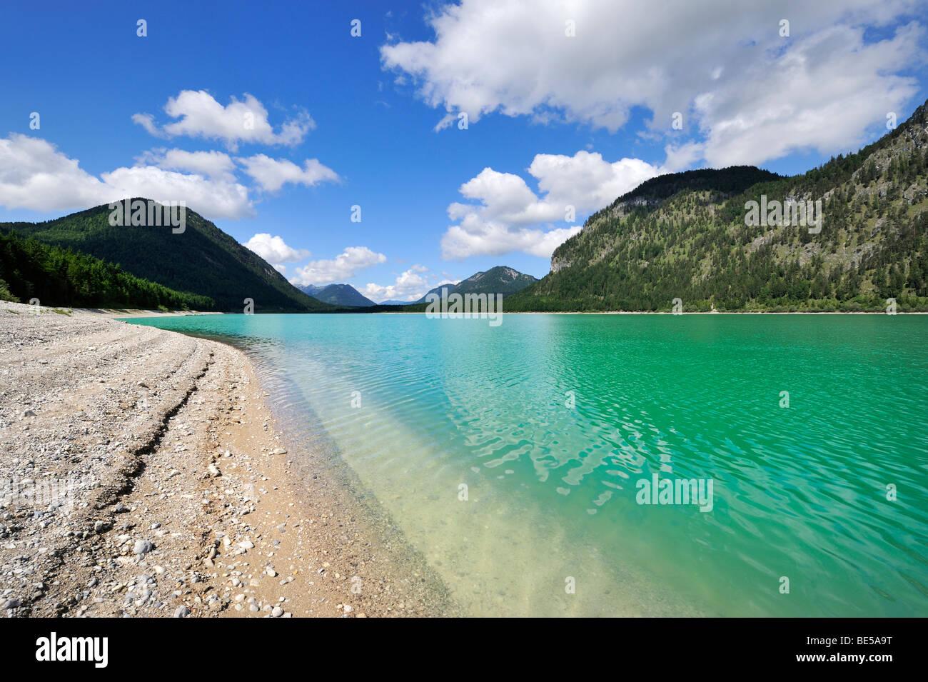 The Sylvensteinstausee reservoir or Sylvensteinsee lake in Isarwinkel, district of Bad Toelz-Wolfratshausen, Bavaria, Stock Photo