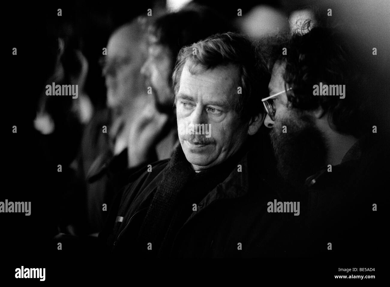 Vaclav Havel at a rally during demonstrations in Prague leading up to the collapse of communism. Czechoslovakia Stock Photo