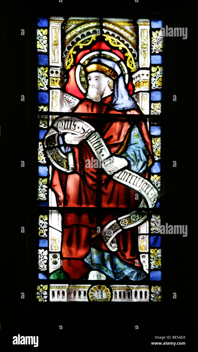 A Stained Glass Window Depicting the Prophet Hosea, Brant Broughton Church, Lincolnshire - Stock Image