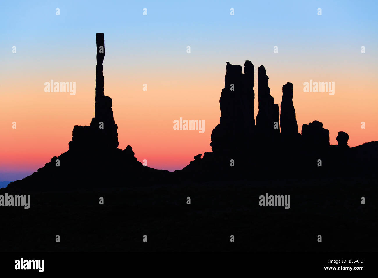 First light at Yei-bi-Chai rocks in Monument Valley - Stock Image