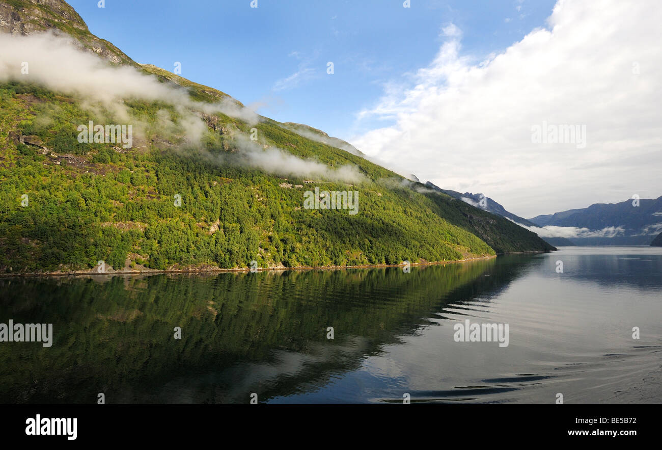 Fjord landscape in the Geiranger Fjord, Norway, Scandinavia, Northern Europe - Stock Image