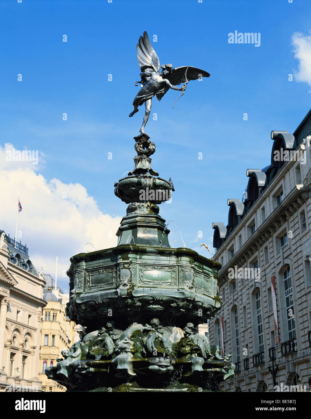 Statue of Eros Piccadilly Circus London England GB - Stock Image