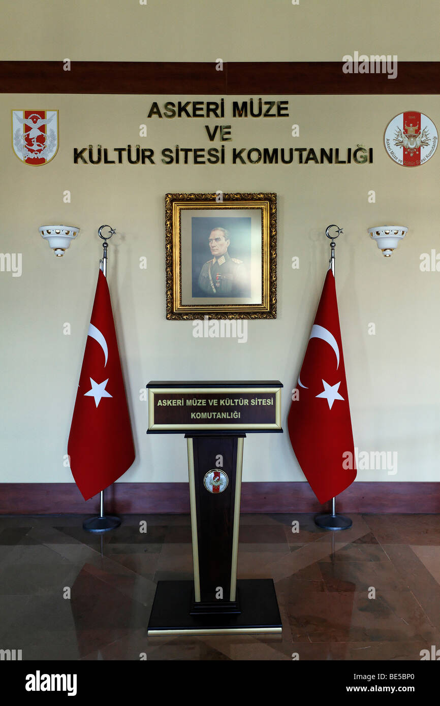 Lectern in front of Turkish flags and Ataturk portrait, Military Museum, Askeri Mues, Osmanbey, Istanbul, Turkey - Stock Image