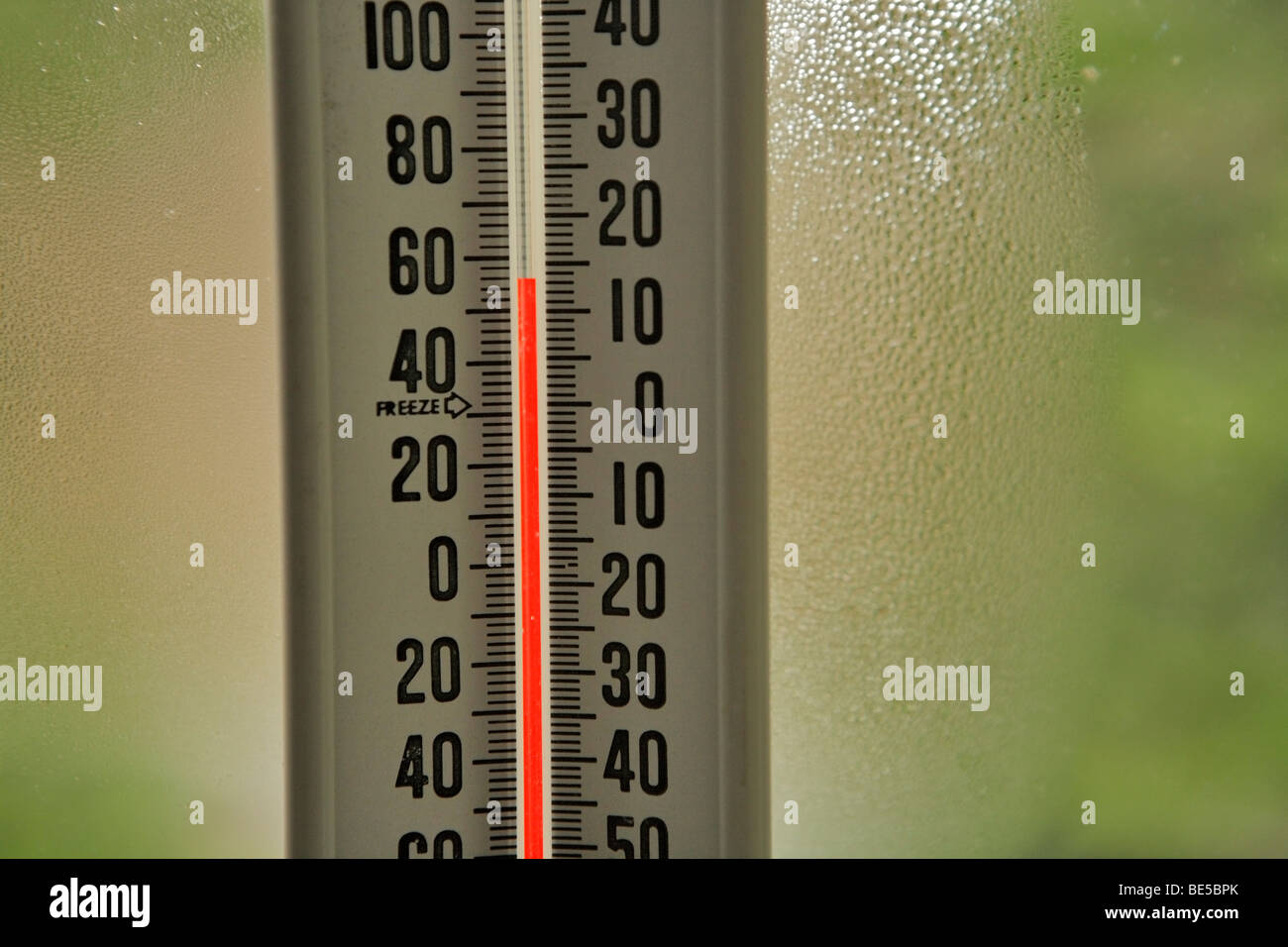 Closeup of thermometer in window-Victoria, British Columbia, Canada. - Stock Image