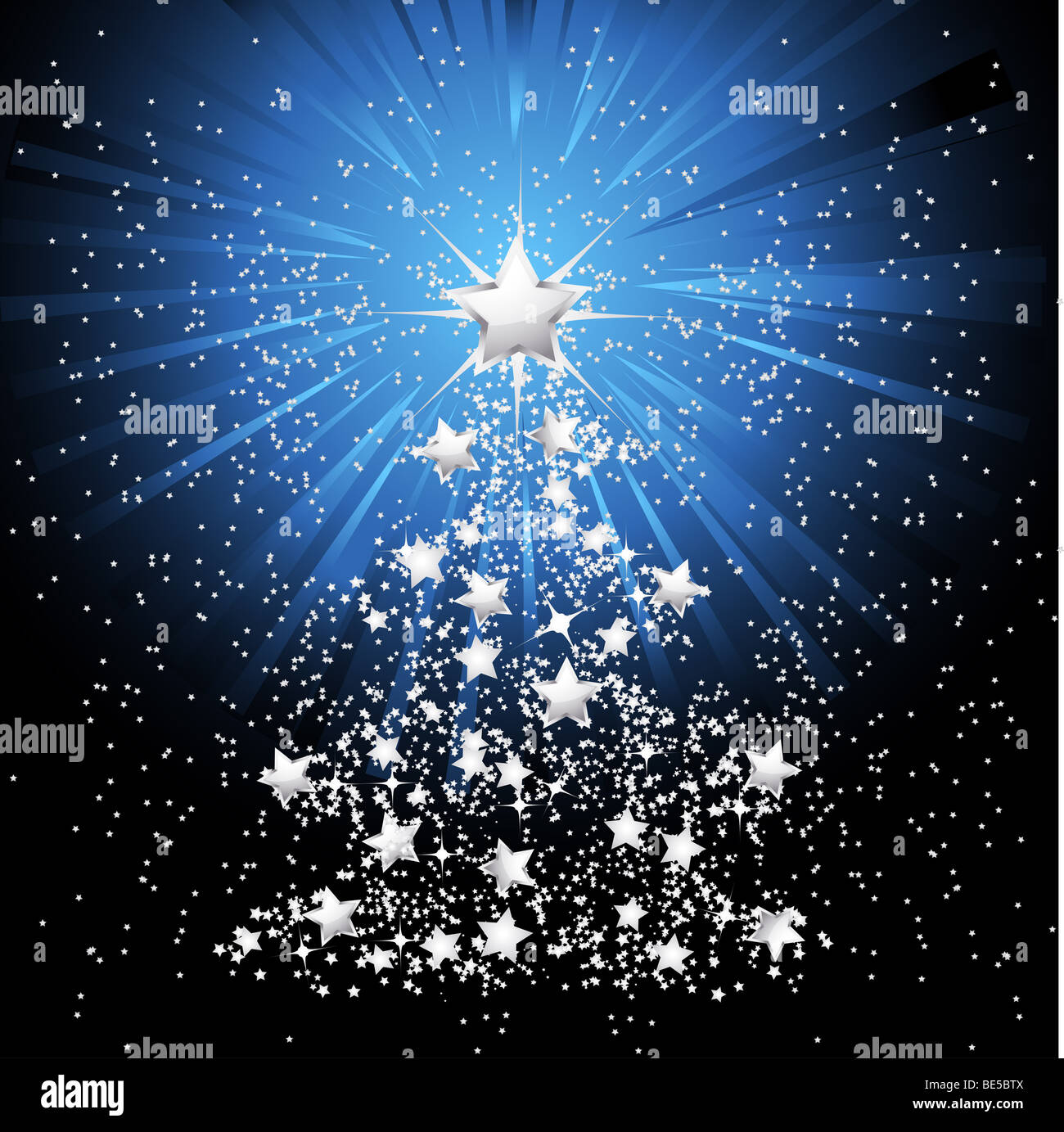 silver starry christmas tree with light bursting out from main star stock image - Starry Christmas