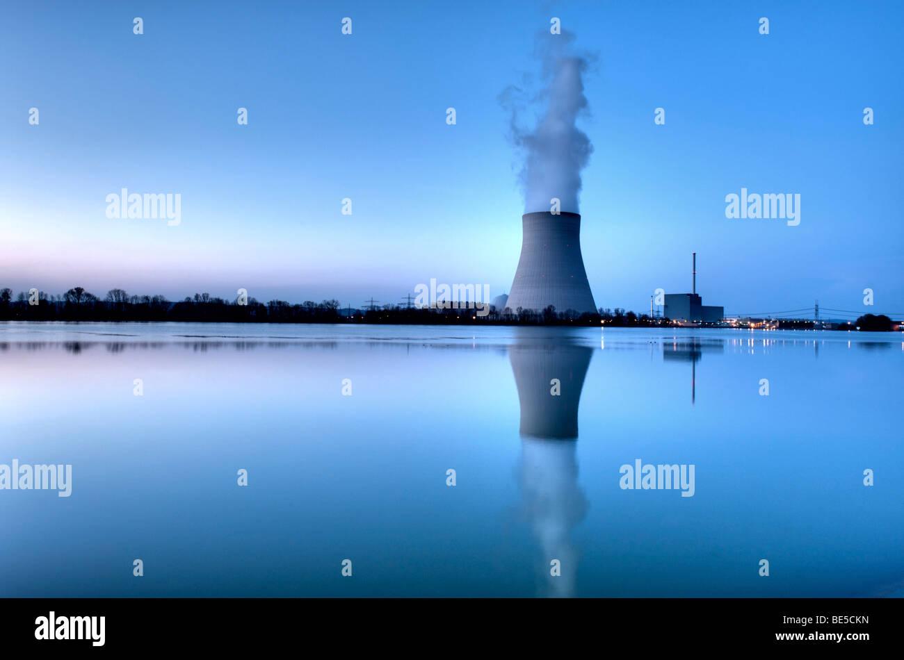 Isar Nuclear Power Plant, Ohu, in Essenbach near Landshut, Lower Bavaria, Bavaria, Germany, Europe - Stock Image