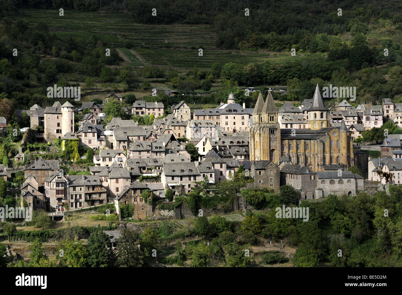 The historic hillside village of Conques, France - Stock Image