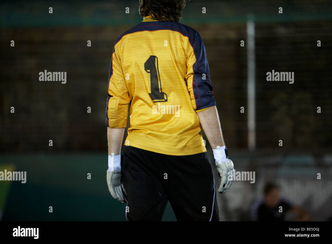 The back of a goalkeeper - Stock Image