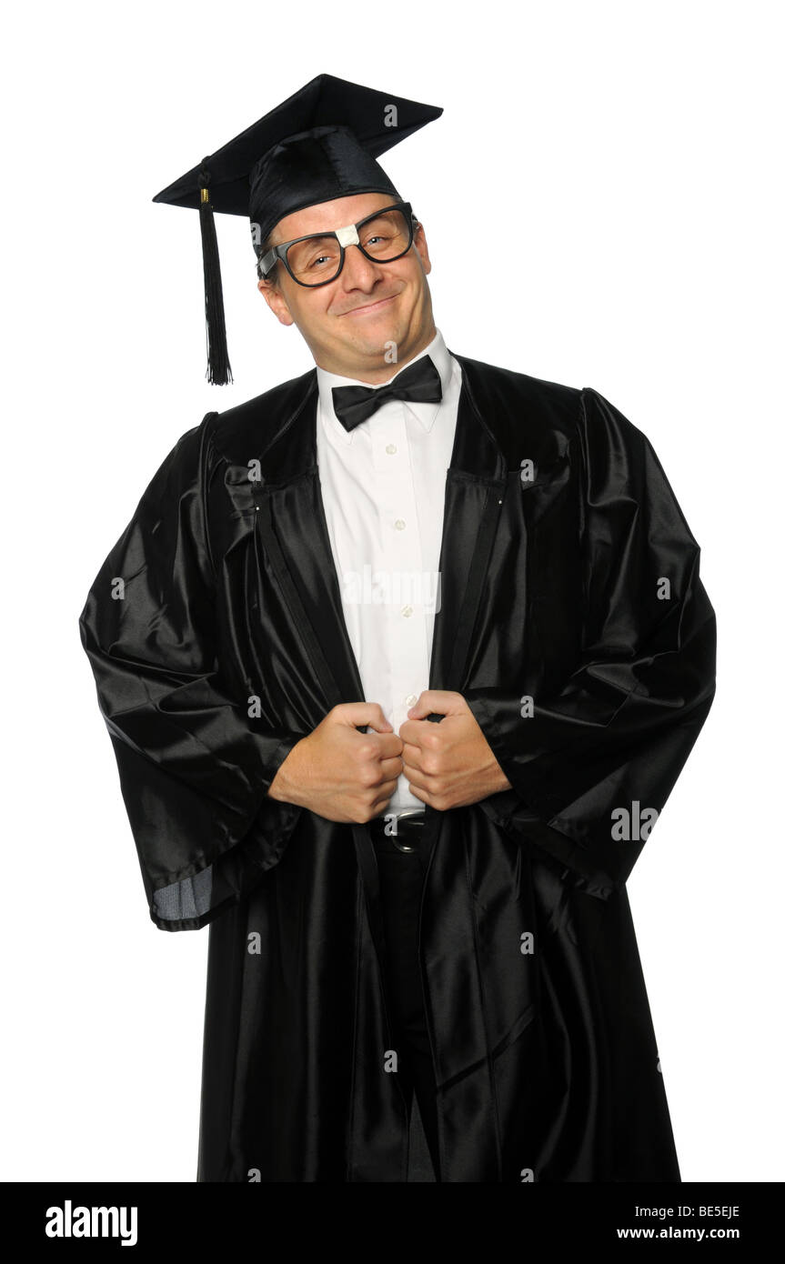Nerd graduate dressed in gown and mortarboard - Stock Image