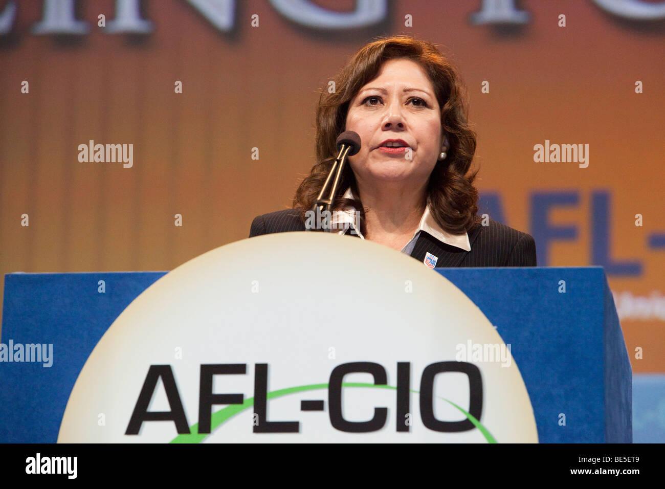 Pittsburgh, Pennsylvania - Secretary of Labor Hilda Solis speaks at the AFL-CIO convention. - Stock Image
